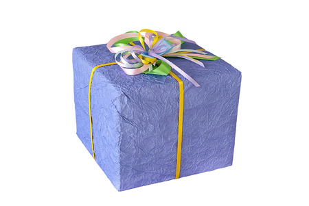 Gift purple box on the white background