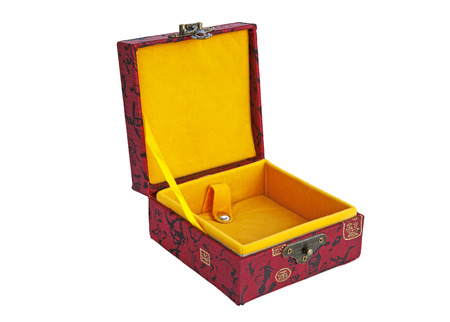Chinese traditional red gift box on white background