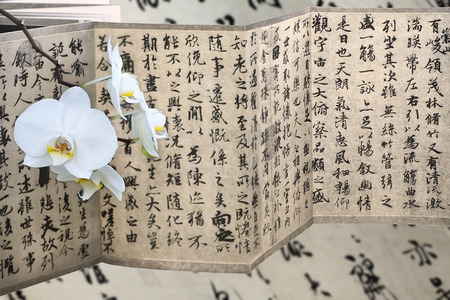 Ancient chinese calligraphy copy text and white orchid Stock Photo