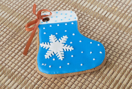 Christmas gingerbread in shape of a blue boot