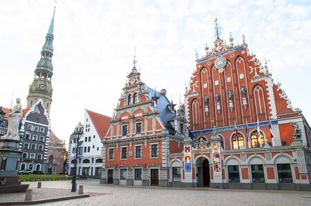 town hall square: Riga Town Hall Square with Blackheads House
