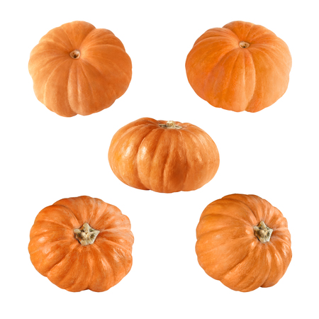 Five  orange pumpkin  isolated on a white background Stock Photo