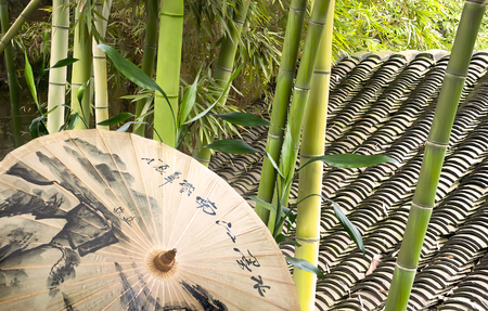 Umbrella, green bamboo and tile roof in chinese garden