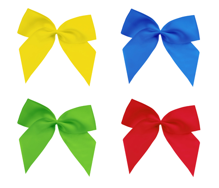 Colored decorative bows isolated on a white background