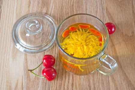 Traditional chinese tea with chrysanthemum flower and goji berries