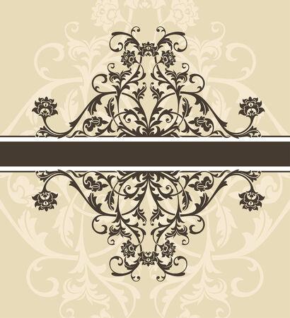 decorative card symbols: abstract vintage frame vector illustration