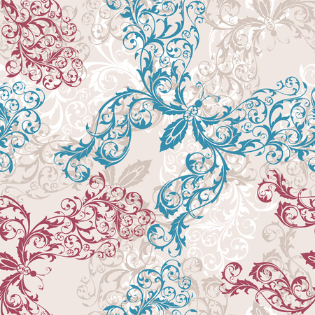 seamless floral butterfly background vector illustration