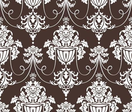 シームレスなダマスク織壁紙ベクトル イラスト