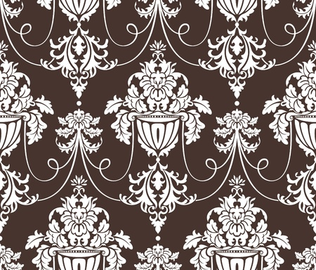 seamless damask wallpaper vector illustration Vector