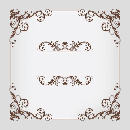 antique background: abstract vintage frame vector illustration