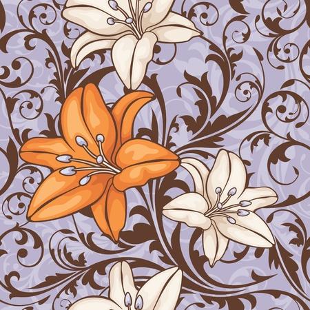 抽象的なシームレスな花柄のベクトル図