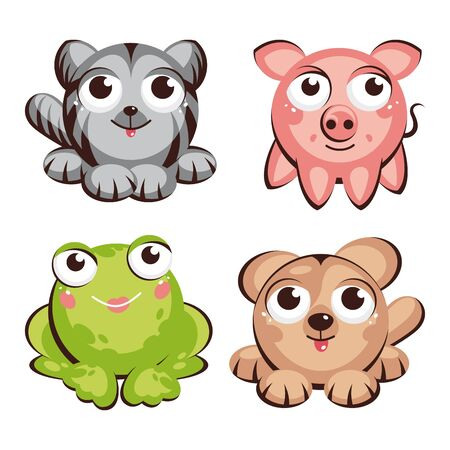 cute cat, pig, frog and dog vector illustration Vector