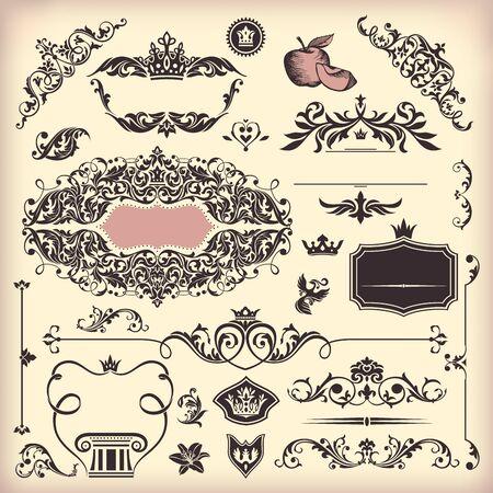 wedding card design: set of floral vintage elements Illustration