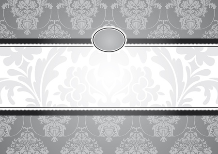 damask background: abstract invitation frame vector illustration
