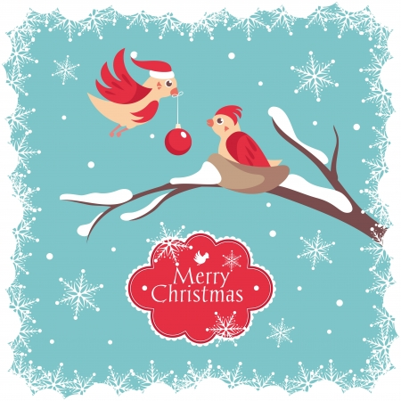 Christmas card with birds vector illustration Vector