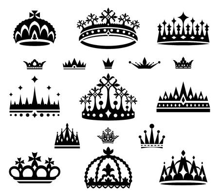 王冠のベクトル図のセット
