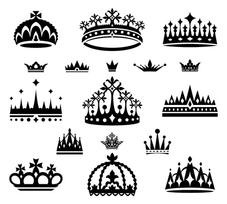 crown king: set of crowns vector illustration