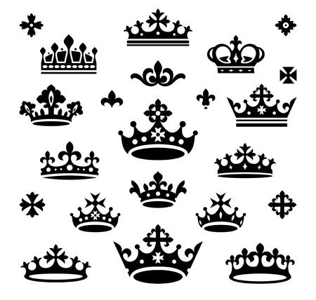 crown silhouette: set di illustrazione vettoriale corone Vettoriali