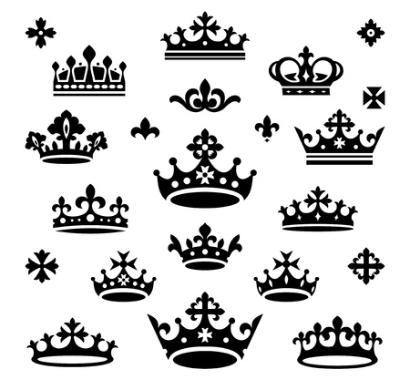 set of crowns vector illustration
