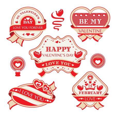 Abstract Valentines day decorative labels vector illustration Vector