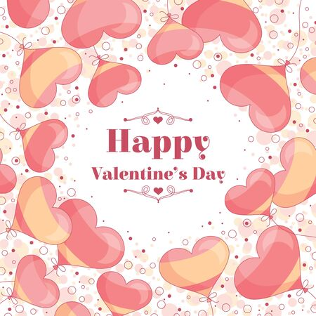 heart balloon: Vintage Valentines day card vector illustration Illustration