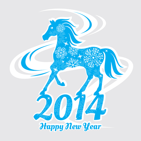 Year of the horse card vector illustration Stock Vector - 22439293
