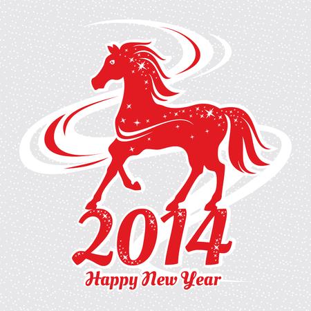 ベクトル イラスト カード馬の年  イラスト・ベクター素材