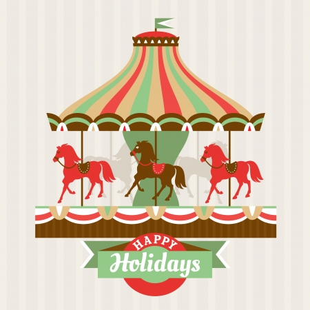 Greeting card with carousel vector illustration