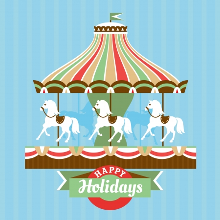 Greeting card with merry-go-round vector illustration Vector