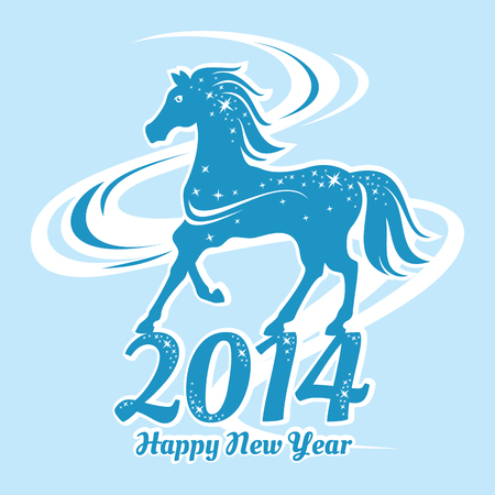 Year of the horse card vector illustration Vector
