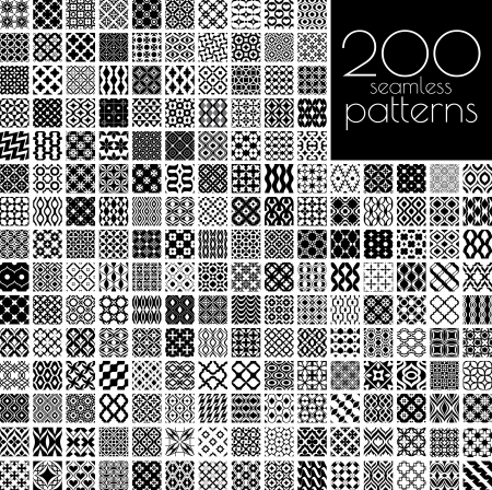 200 black and white ornament patterns vector illustration(each pattern in swatch panel)