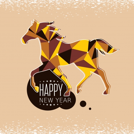 New year card with stylized geometric horse vector illustration Vector