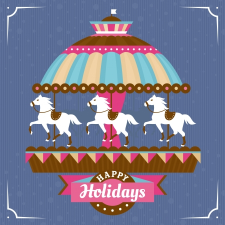Greeting card with carousel vector illustration Stock Vector - 22786938
