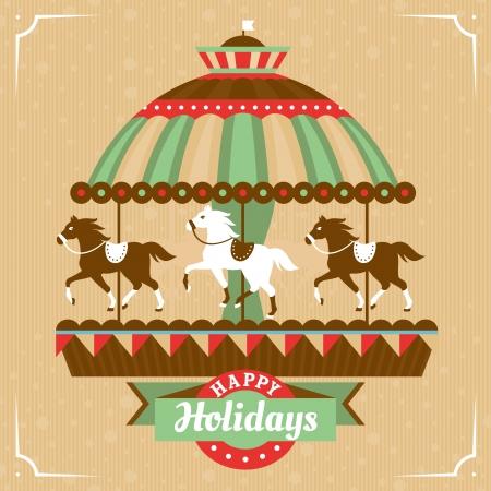 animaux cirque: Carte de voeux avec merry-go-round illustration vectorielle