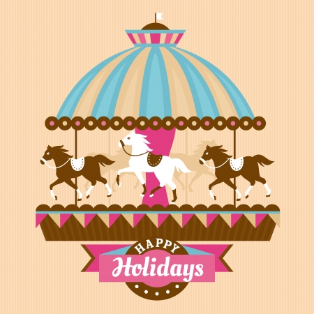 Greeting card with merry-go-round vector illustration Çizim