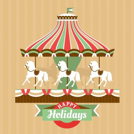 Carte de voeux avec illustration vectorielle carrousel Banque d'images - 23063674