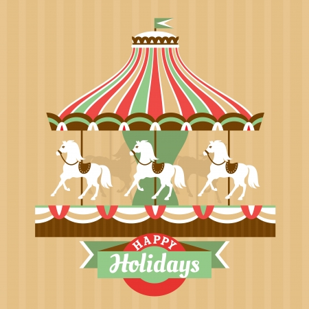 Greeting card with carousel vector illustration Vector