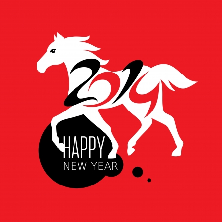 Year of the horse card vector illustration Stock Vector - 23063679