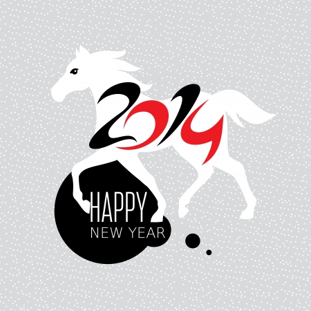 Year of the horse card vector illustration Stock Vector - 23063708