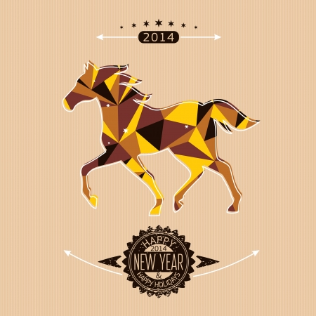 New year card with stylized geometric horse vector illustration