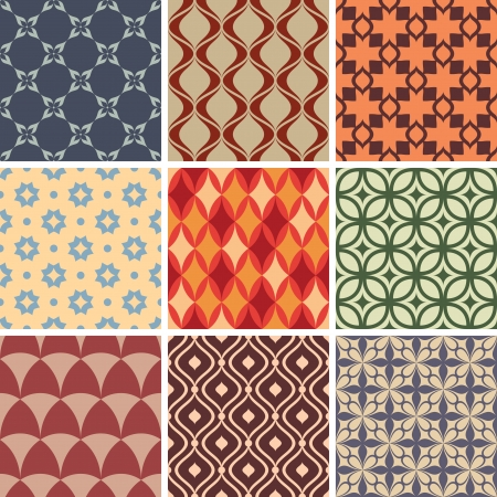 set of abstract seamless patterns vector illustration Vector