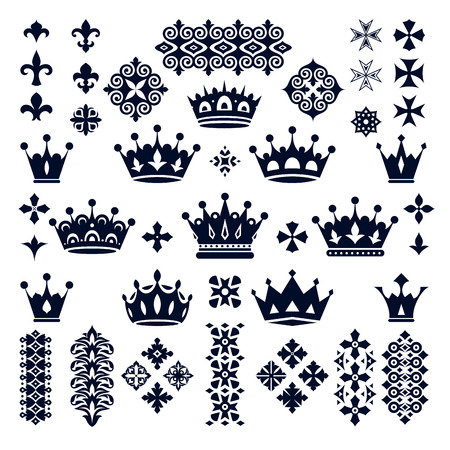 aristocracy: set of crowns and decorative elements vector illustration Illustration