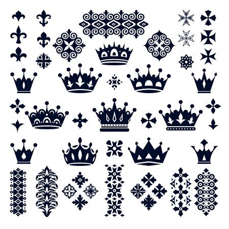 black princess: set of crowns and decorative elements vector illustration Illustration