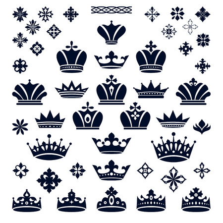 diadem: set of crowns and decorative elements vector illustration Illustration