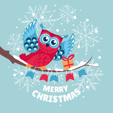 Christmas greeting card with owl vector illustration Vector