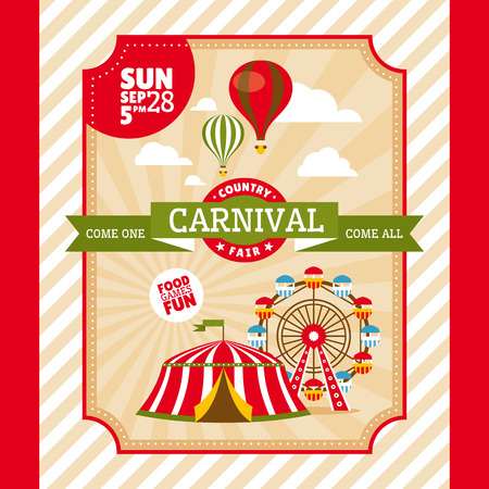 fun fair: Country fair vintage invitation card illustration