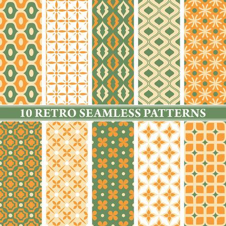 set of 10 retro seamless patterns vector illustration Vector