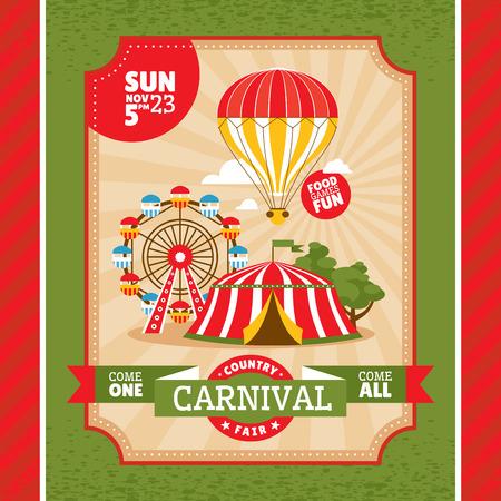 fun festival: Country fair vintage invitation card vector illustration