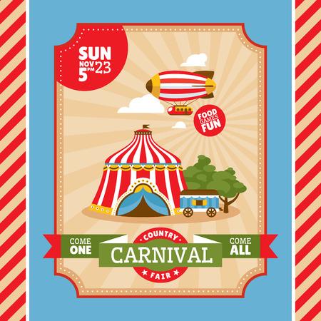 fondo de circo: País tarjeta feria invitación de la vendimia ilustración vectorial