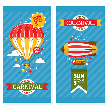 amusement park: Country fair vintage invitation cards vector illustration Illustration